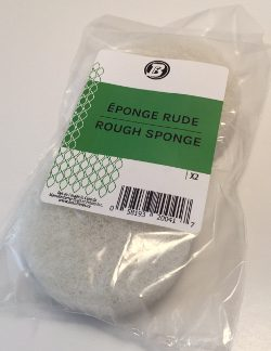 White Round Rough Sponge - 3 3/8'' diam. x 1'' thick (pkg2)