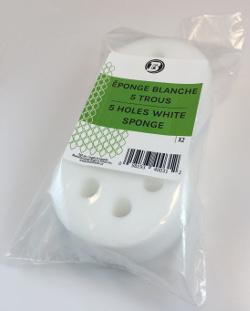 White Round Sponge(5 holes) - 3 3/8'' diam. x 1 1/2'' thick (pkg2)